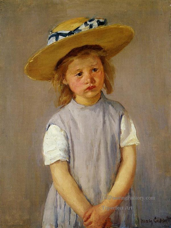 4-Little-Girl-in-a-Big-Straw-Hat-and-a-Pinnafore-impressionism-mothers-children-Mary-Cassatt